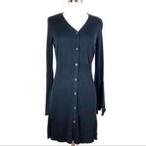Du Jour Bell Sleeve Cardigan Sweater black cotton